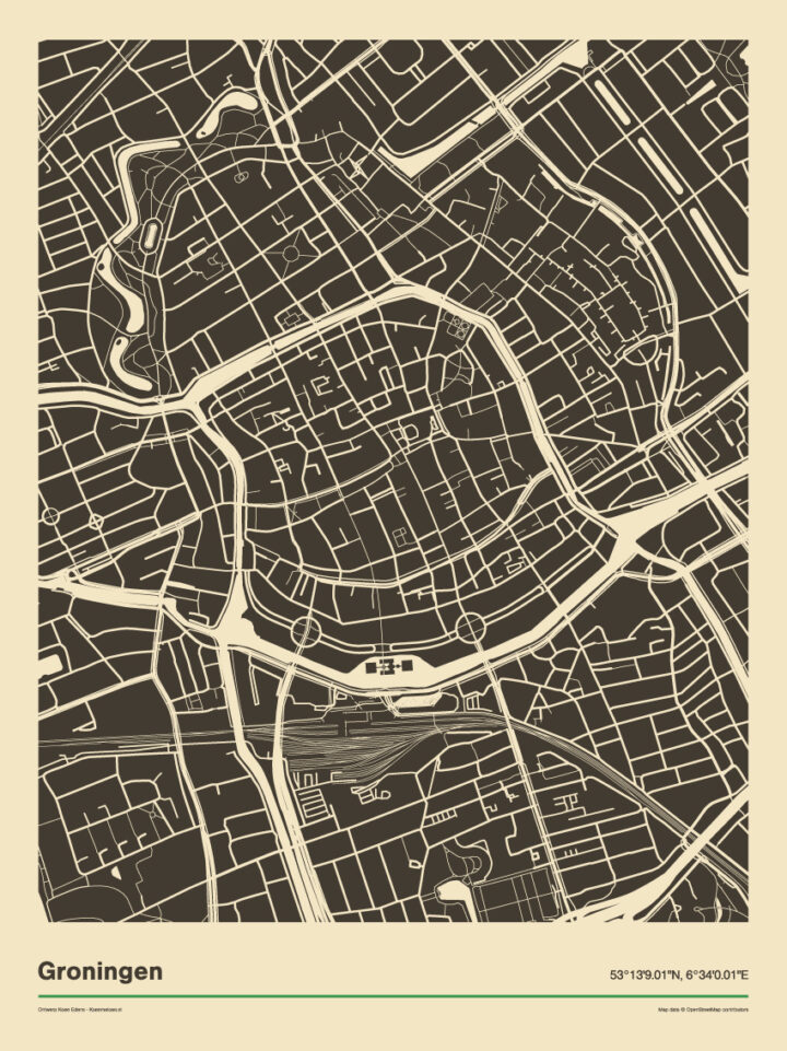 Poster print Groningen Zwart Wit Retro Vintage Koenmeloen