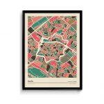 Zwolle-mozaiek-poster-print-grijze-roze-tinten-koenmeloen