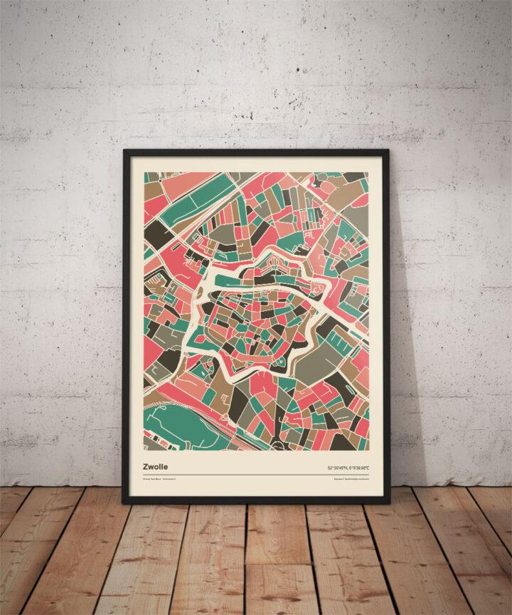 Zwolle-mozaiek-poster-print-grijze-roze-tinten-koenmeloen-vloer