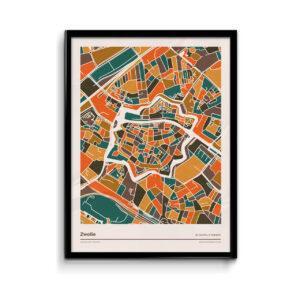 Zwolle - mozaiek-poster-print-oranje-bruine--tinten-koenmeloen