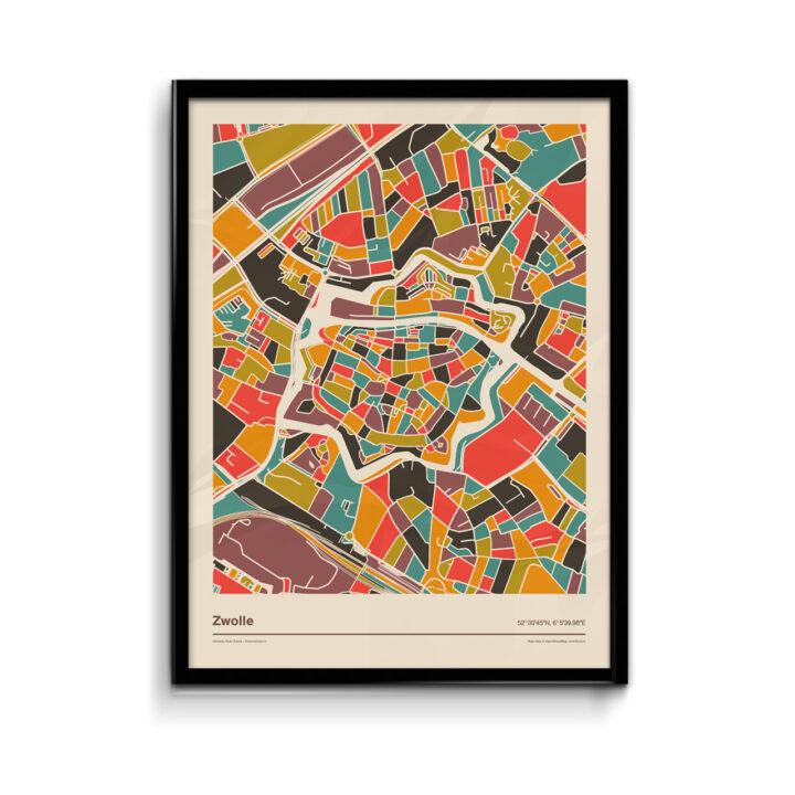 Zwolle-mozaiek-poster-print-retro-warme--tinten-koenmeloen