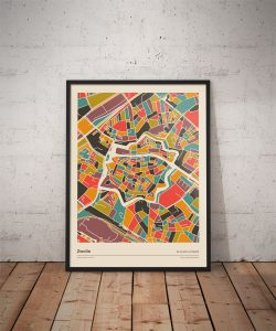 Zwolle-mozaiek-poster-print-retro-warme--tinten-koenmeloen-vloer