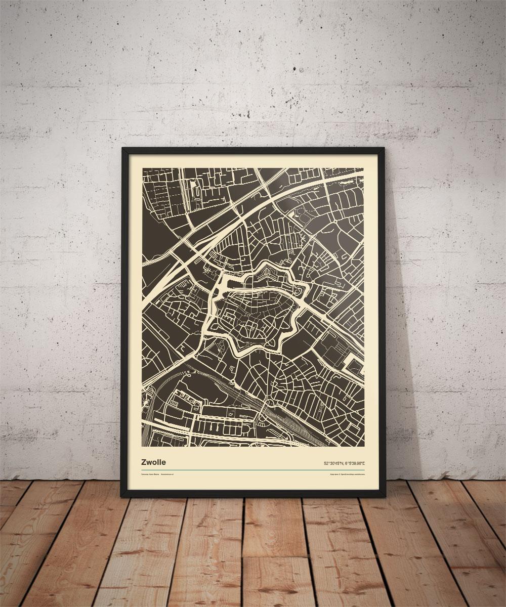 Zwolle--poster-print-zwart-wit-vintage-koenmeloen-vloer