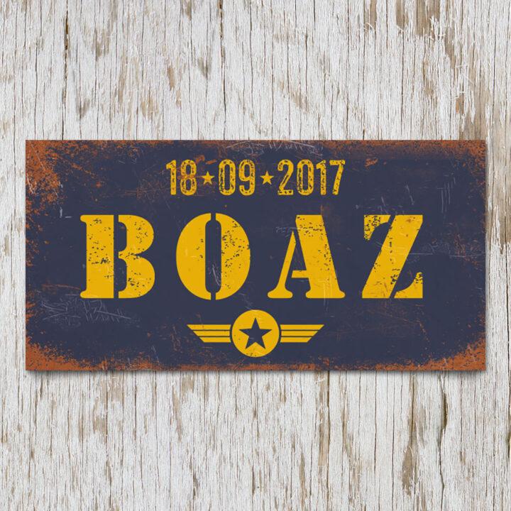 naambord-boaz-blauw-geel-leger-army-koenmeloen