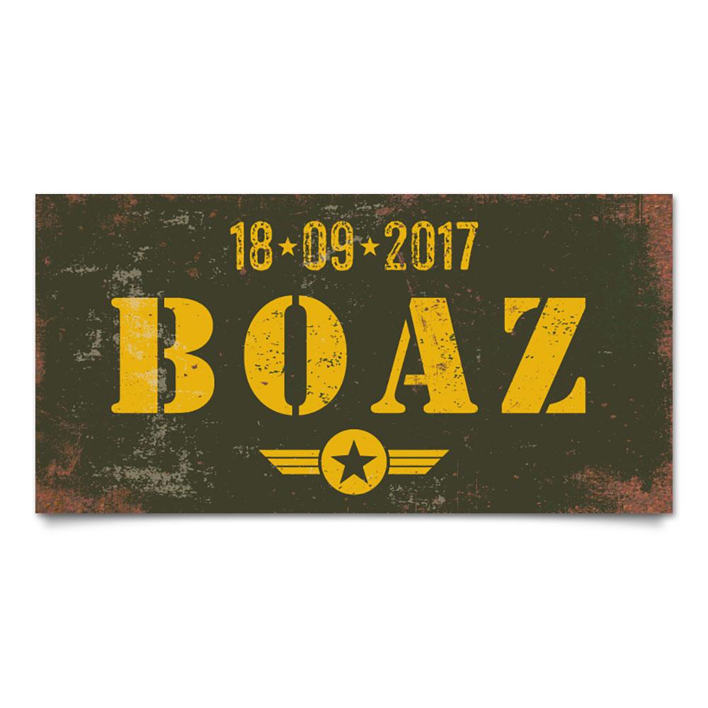 naambord-boaz-groen-geel-leger-army-koenmeloen