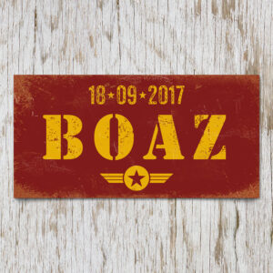 naambord-boaz-rood-geel-leger-army-koenmeloen