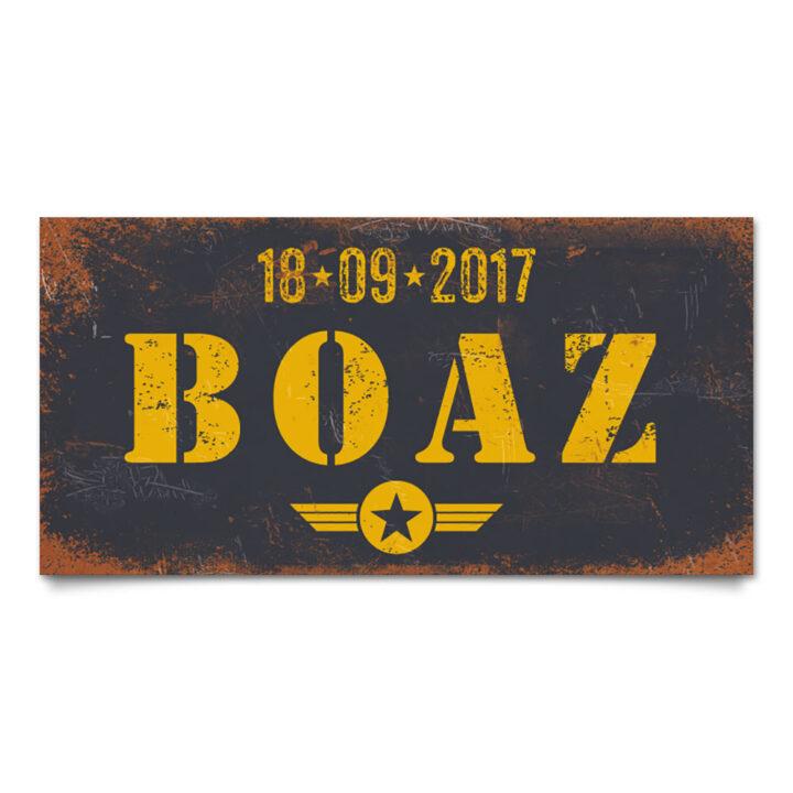 naambord-boaz-zwart-geel-leger-army-koenmeloen