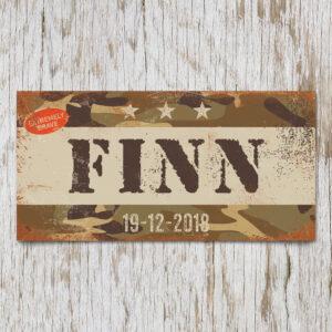 Naambord Kinderkamer Finn Bruin Wit Camouflage