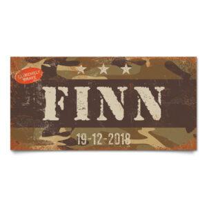 Naambord Kinderkamer Finn Wit Bruin Camouflage