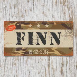 Naambord Kinderkamer Finn Wit Zwart Camouflage