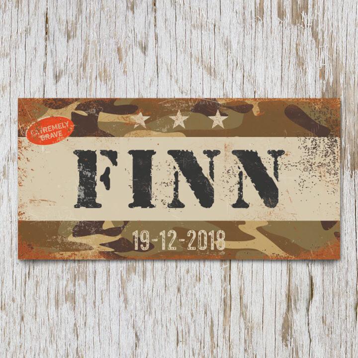 naambord-finn-bruin-zwarte-text-leger-army-koenmeloen-