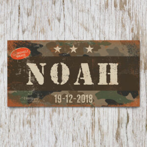 Naambord Kinderkamer Noah Bruin Wit Camouflage