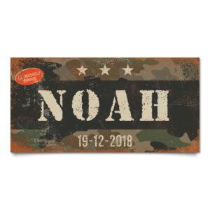 Naambord Kinderkamer Noah Zwart Wit Camouflage