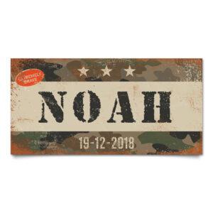 Naambord Kinderkamer Noah Leger Wit Zwart Camouflage