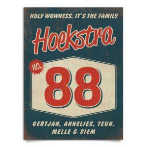 Vintage naambord-Hoekstra-voordeur-blauw-rood-wit-koenmeloen