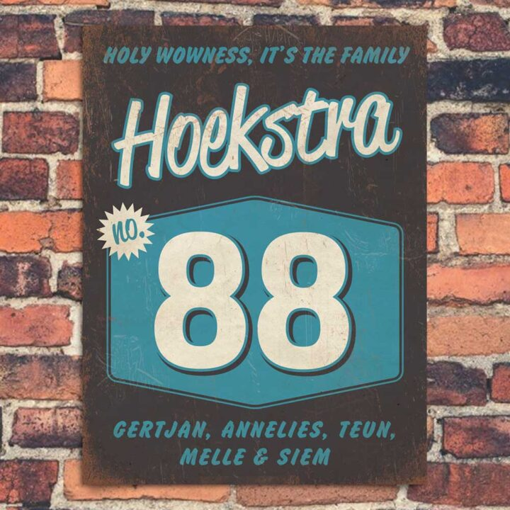 Vintage Naambord-Hoekstra-voordeur-zwart-wit-blauw-koenmeloen