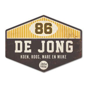 Naambord De Jong - Zwart Geel Wit