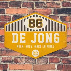 Naambord De Jong – Zwart Geel Wit