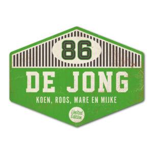 Naambord-de-jong-groen-wit-zwart-koenmeloen voordeur