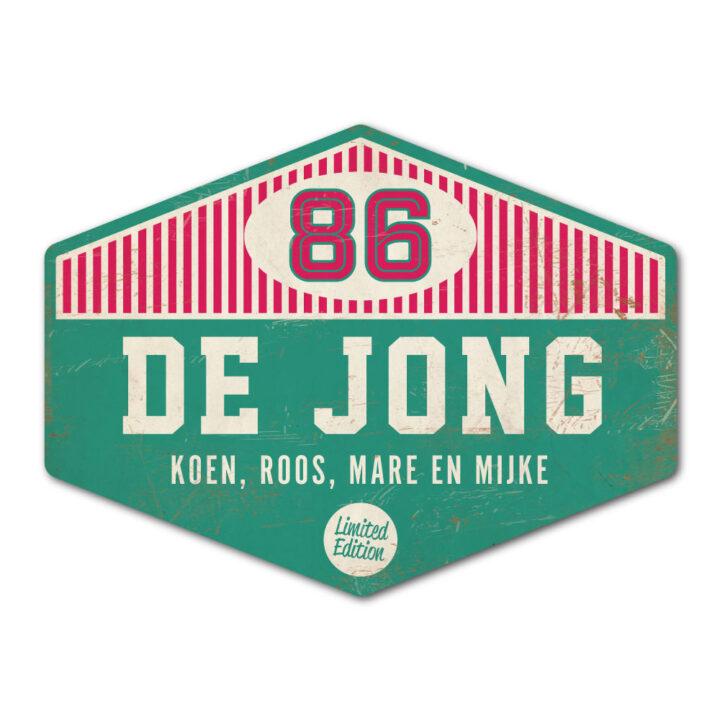 Naambord-de-jong-mint-roze-wit-koenmeloen voordeur