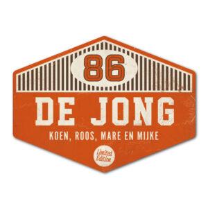 Naambord-de-jong-oranje-wit-bruin koenmeloen voordeur