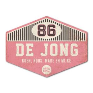 Naambord-de-jong-roze-wit-zwart-koenmeloen voordeur