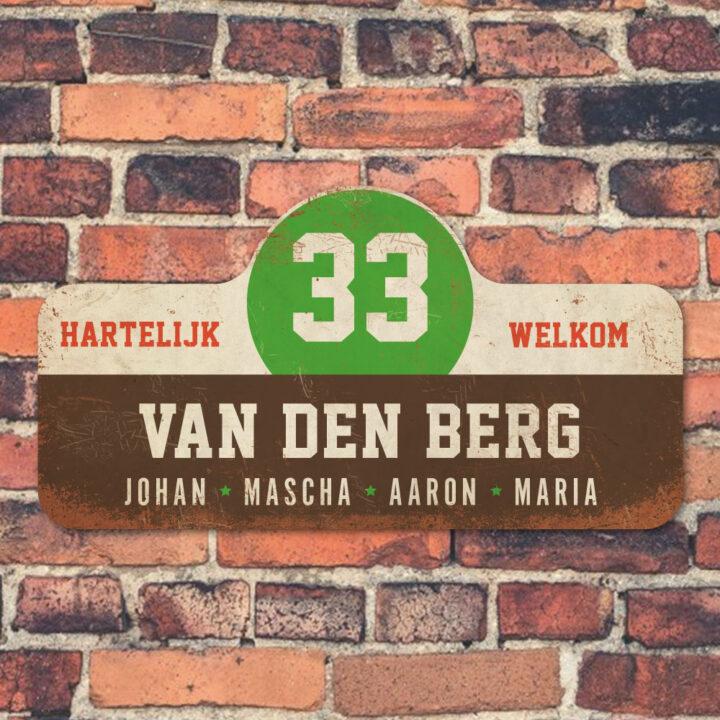 Van-den-Berg-naambord-koenmeloen-bruin-wit-groen-rood-muur rallybord