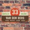 Van-den-Berg-naambord-koenmeloen-bruin-wit-rood-groen muur rallybord