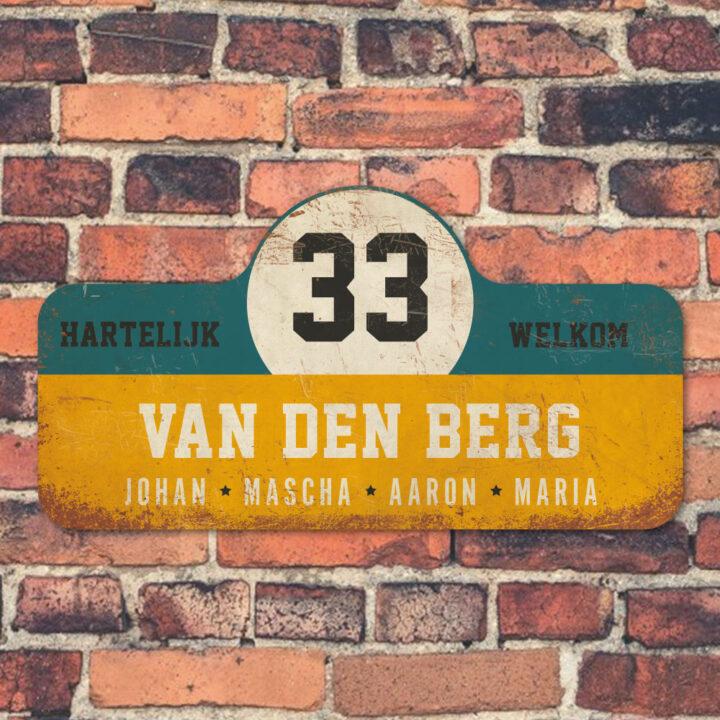 Van-den-Berg-naambord-koenmeloen-geel-blauw-wit-zwart muur rallybord