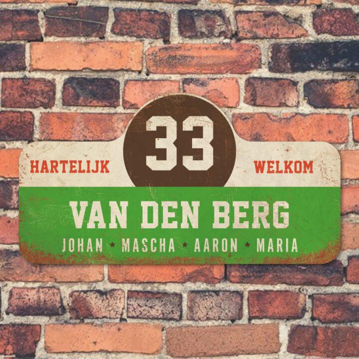 Van-den-Berg-naambord-koenmeloen-groen-wit-bruin-rood-muur rallybord
