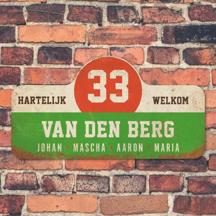 Van-den-Berg-naambord-koenmeloen-groen-wit-rood-bruin-muur rallybord