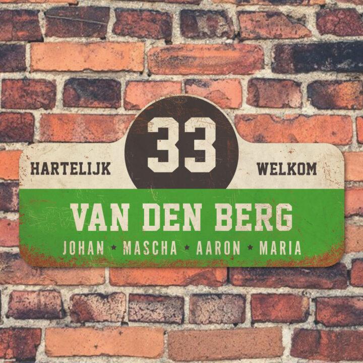 Van-den-Berg-naambord-koenmeloen-groen-wit-zwart-muur rallybord
