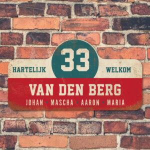 Van-den-Berg-naambord-koenmeloen-rood-wit-blauw-muur rallybord