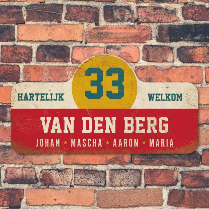Van-den-Berg-naambord-koenmeloen-rood-wit-geel-blauw-muur rallybord