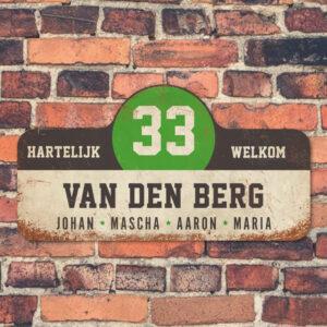 Van-den-Berg-naambord-koenmeloen-wit-zwart-groen muur rallybord