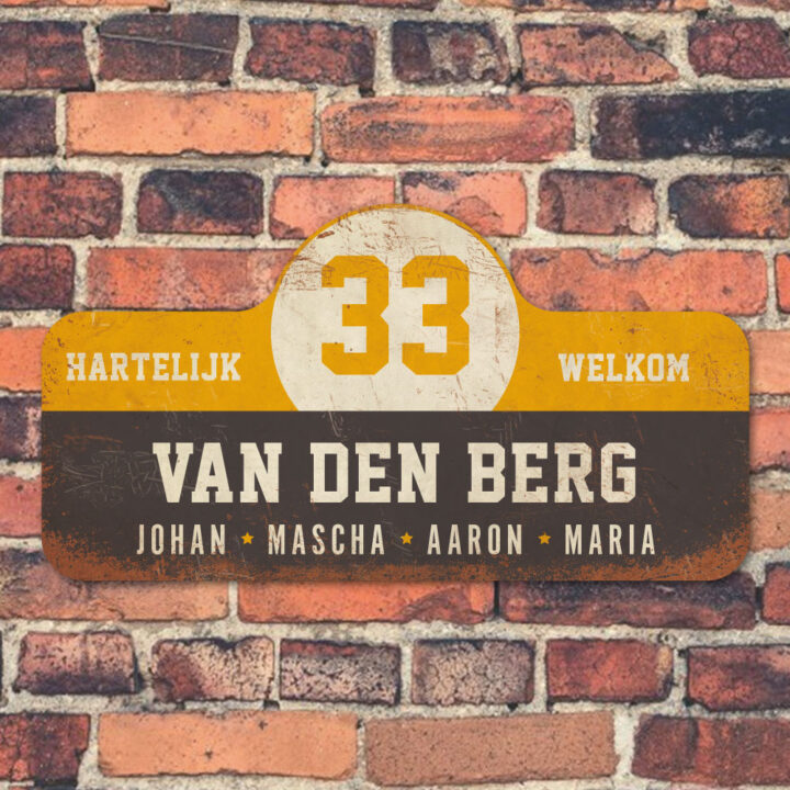 Van-den-Berg-naambord-koenmeloen-zwart-geel-wit-muur rallybord