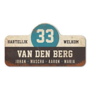 Van-den-Berg-naambord-koenmeloen-zwart-wit-blauw rallybord