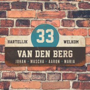 Van-den-Berg-naambord-koenmeloen-zwart-wit-blauw muur rallybord