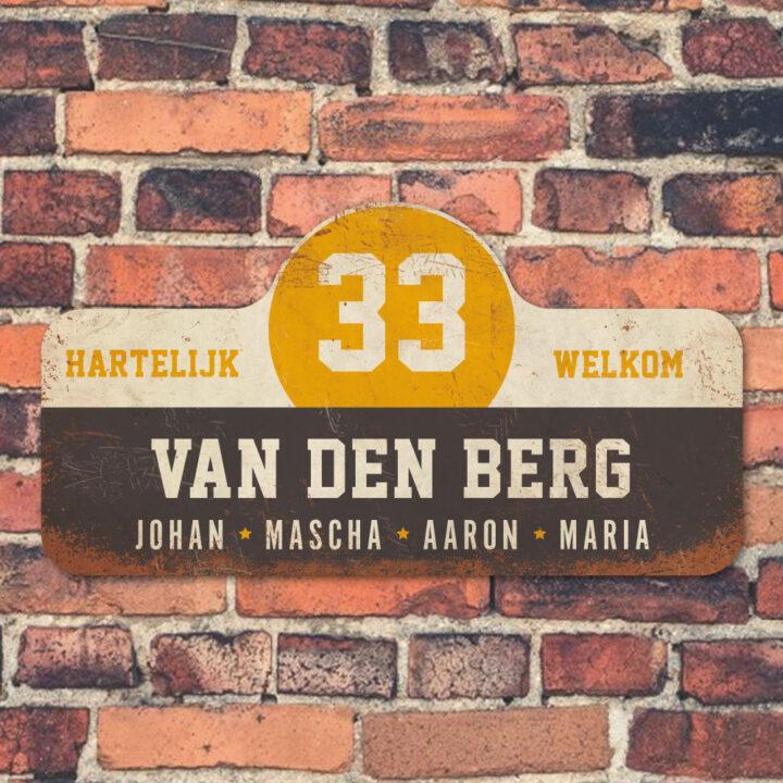 Van-den-Berg-naambord-koenmeloen-zwart--wit-geel-muur rallybord
