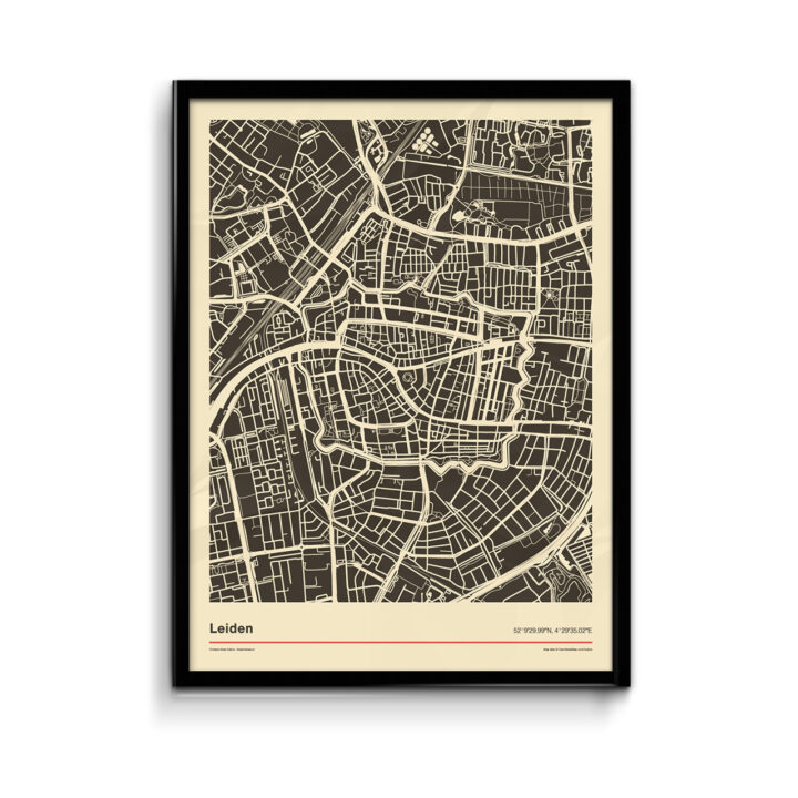 Koenmeloen---Poster-plattegrond-Leiden-zwart-wit