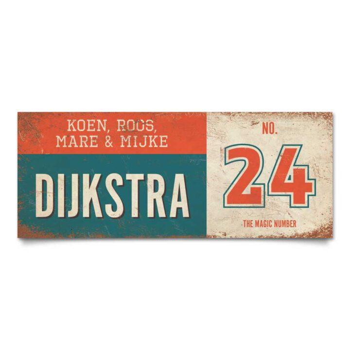 Koenmeloen-vintage-naambord-Dijksrta-blauw-rood-wit