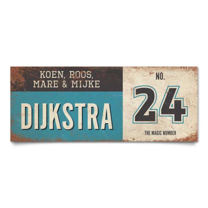 Koenmeloen-vintage-naambord-Dijksrta-blauw-zwart-wit