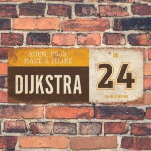 Koenmeloen-vintage-naambord-Dijksrta-bruin-geel-wit