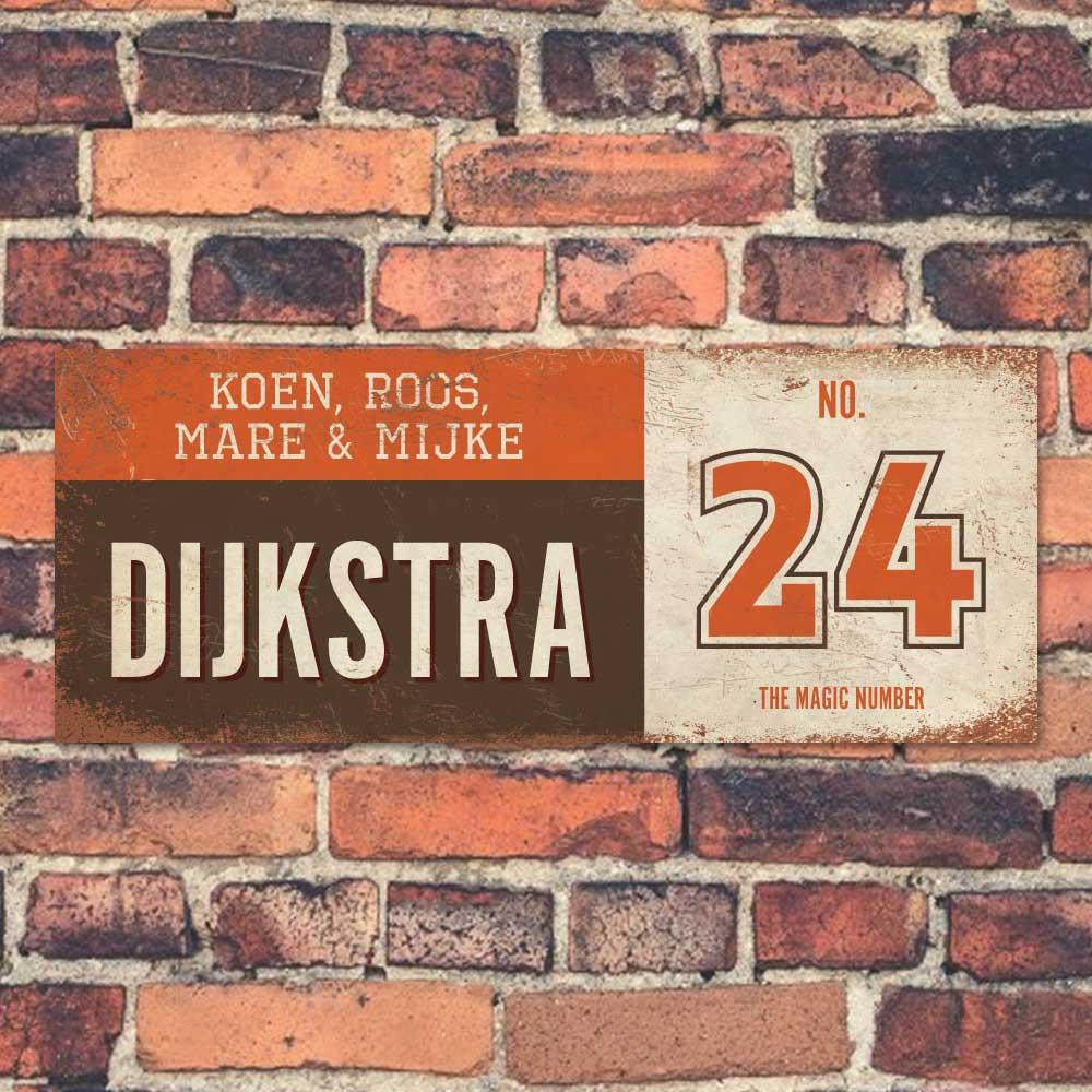 Koenmeloen-vintage-naambord-Dijksrta-bruin-oranje-wit