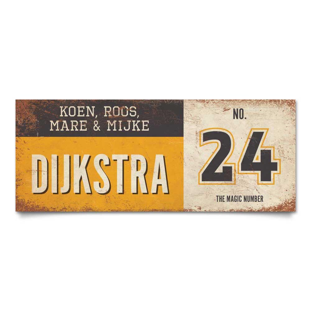 Koenmeloen-vintage-naambord-Dijksrta-geel-zwart-wit