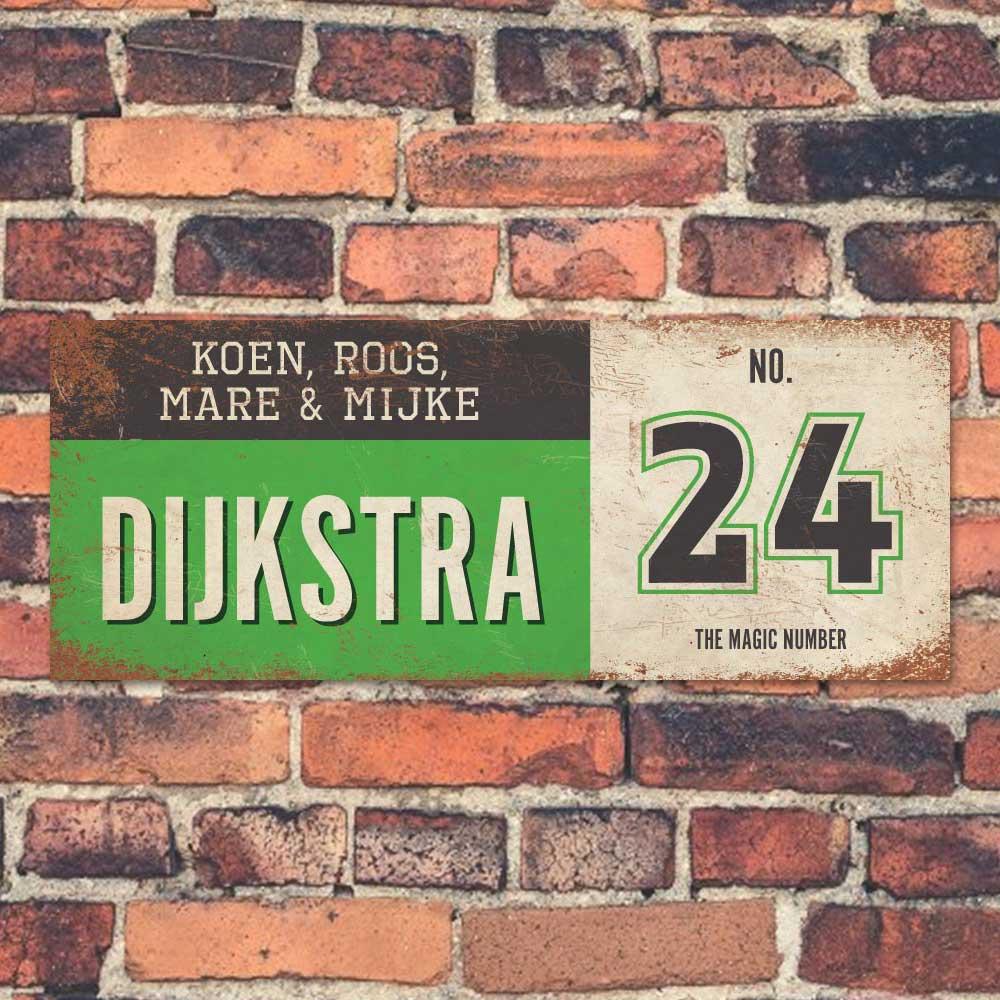 Koenmeloen-vintage-naambord-Dijksrta-groen-zwart-wit