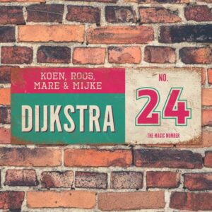 Koenmeloen-vintage-naambord-Dijksrta-mint-roze-wit