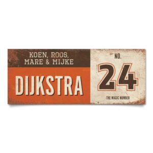 Koenmeloen-vintage-naambord-Dijksrta-oranje-bruin-wit