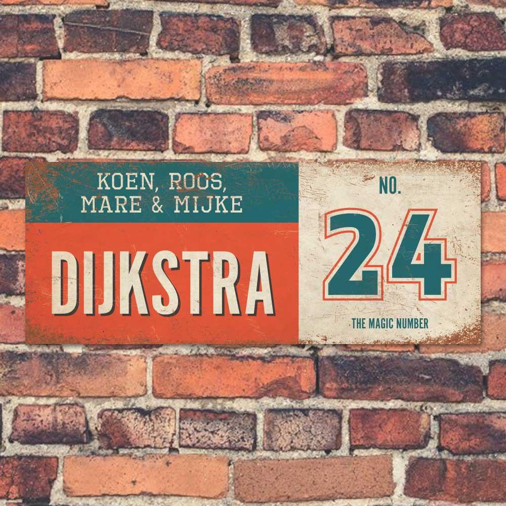 Koenmeloen-vintage-naambord-Dijksrta-rood-blauw-wit