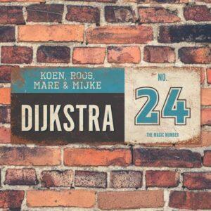 Koenmeloen-vintage-naambord-Dijksrta-zwart-blauw-wit